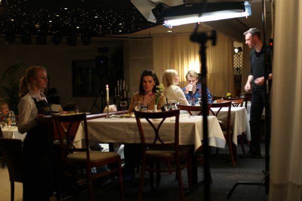 Scen i restaurangen på Grand Hotell