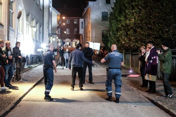 Nattscener utanför Grand Hotell under inspelningen av Svart kung