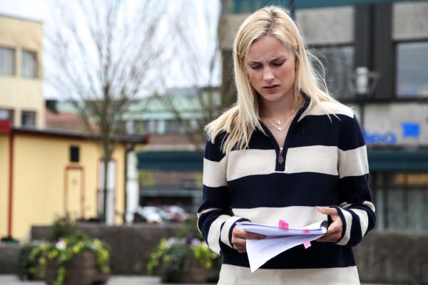 Kristin Högberg inför en tagning